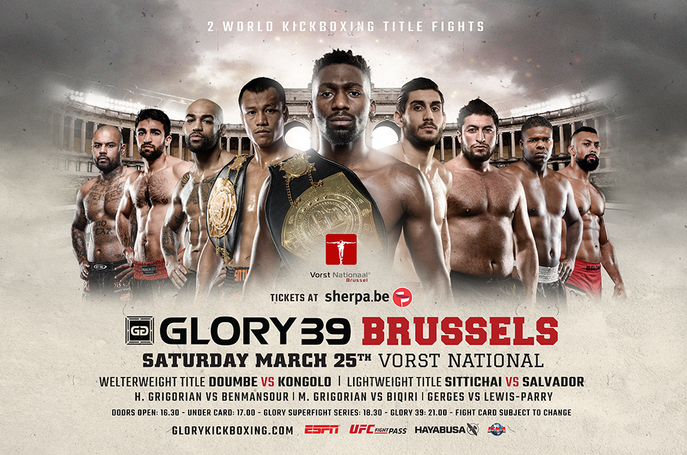 Cédric Doumbé Defends Against Yoann Kongolo at GLORY 39 Brussels Sittichai vs. Dylan Salvador Headlines GLORY 39 SuperFight Series