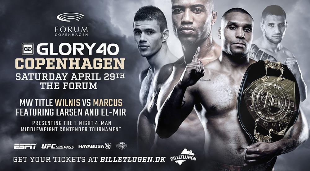 Middleweight Champion Jason Wilnis vs. No.1 Contender Simon Marcus Trilogy Fight Headlines GLORY 40 Copenhagen on Saturday, April 29