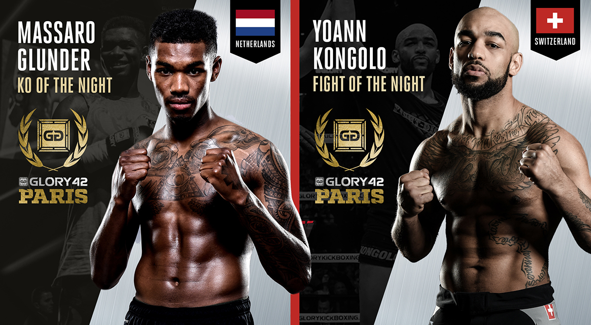 Massaro Glunder, Yoann Kongolo win GLORY 42 bonus awards