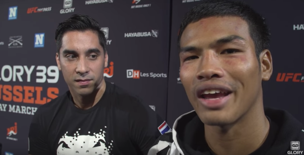 GLORY 39 Post-Fight: Sitthichai advises Petchpanomrung how to fight Roosmalen