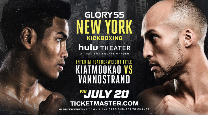 Interim Featherweight Champion to be Crowned When Kevin Vannostrand Meets Petchpanomrung Kiatmookao at GLORY 55 New York on Friday, July 20