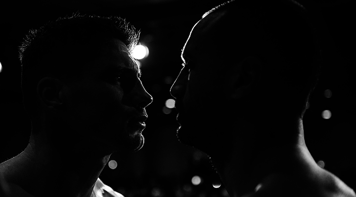 RICO VERHOEVEN AND BADR HARI FACE OFF AT THE OFFICIAL COLLISION 2 PRE-FIGHT WEIGH INS